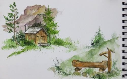 aquarelle,croquis,dolomites,montagne,cabane,abby