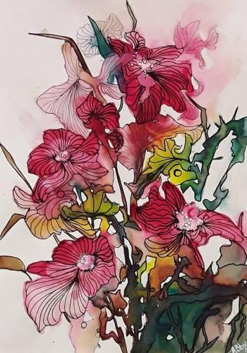abby,encres,colorex,paysages,oiseaux,fleurs,aquarelles,encres colorées