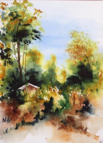 aquarelle,abby,paysage,campagne,forêt,sous-bois,arbres,cabane,chemin