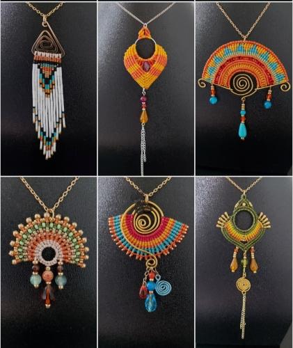 abby,bijoux,pendentif,boucles d'oreilles,collier,artisanat,micromacrame,macrame,bohostyle,boho,ethnique,bohochic,ethnic,hippie