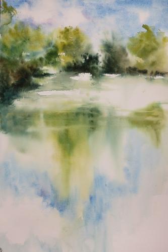 aquarelle,abby,paysage,lac,rivière,eau,barque,reflets,chemin,étang,reflets