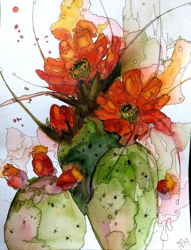 aquarelles,watercolor,fleurs,insectes,oiseaux,sumie,abby,cactus