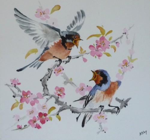aquarelle,oiseaux,peinture chinoise,watercolor,prunus,abby