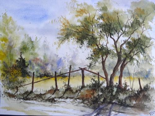 aquarelle,paysage,abby,campagne,arbres,sous-bois,forêt,printemps,arbres,chemin,chêne,barrière,piquets
