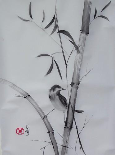 aquarelle,sumi-e,sumie,peinture chinoise, peinture japonaise,encre,abby,oiseau