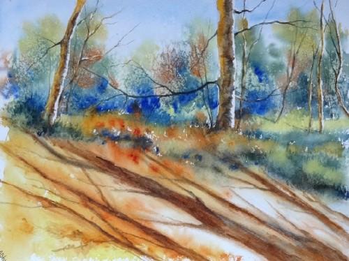 aquarelle,paysage,abby,arbres,sous-bois,forêt,automne,paysage