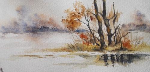 aquarelle,abby,carte,voeux,neige,paysage