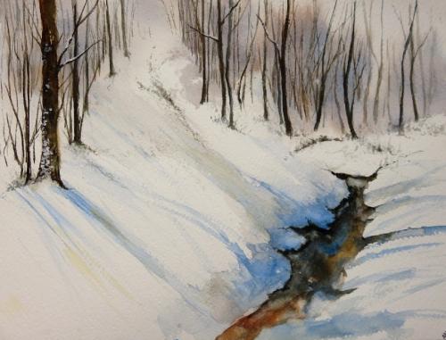 aquarelle,abby,cabane,arbres,forêt,paysage,campagne,sous-bois,neige,hiver,ruisseau
