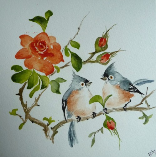 aquarelle,oiseaux,nature,rose,peinture chinoise,abby