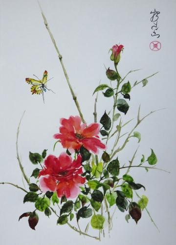 aquarelle,abby,xieyi,sumie,peinture asiatique,peinture chinoise,peinture japonaise,fleurs,oiseau,insecte,encre,vase