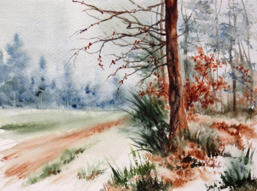 aquarelle,abby,hiver,campagne,arbres,sapins,champ