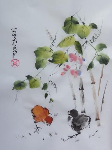 aquarelle,sumi-e,sumie,peinture chinoise,oiseau,fleur,abby,poussins