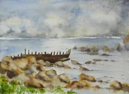 aquarelle,paysage,abby,mer,épave,ciel,Bretagne,cote d'armor