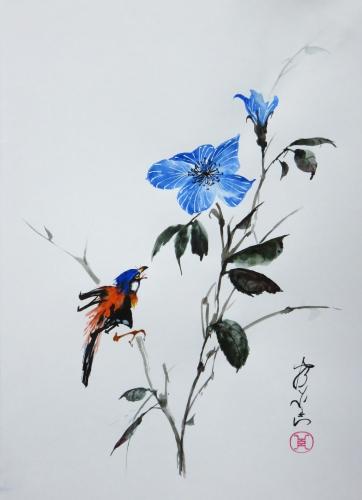 aquarelle,abby,xieyi,peinture chinoise,peinture asiatique,peinture japonaise,sumie,oiseau,fleur,insecte
