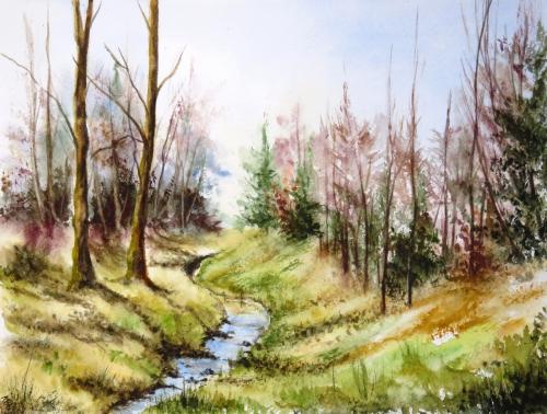 aquarelle,abby,cabane,arbres,forêt,paysage,campagne,sous-bois,ruisseau,rivière