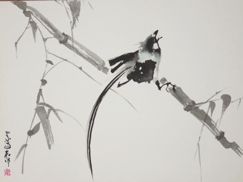 encre,abby,sumie,oiseau,abeille,fleur,peinture chinoise,peinture asiatique,peinture japonaise,sumi-e