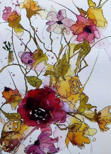 Aquarelle, abby,fleurs,insectes,peinture,watercolor,oiseau,sumie