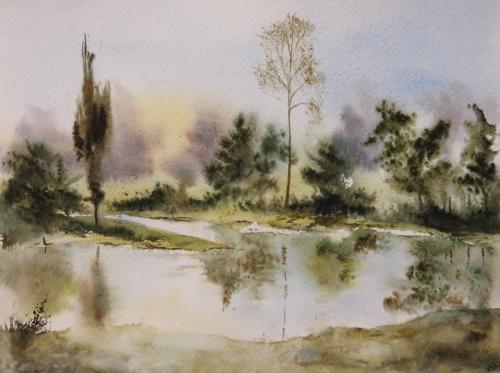 aquarelle,abby,cabane,arbres,forêt,paysage,campagne,sous-bois,reflets,étang,lac