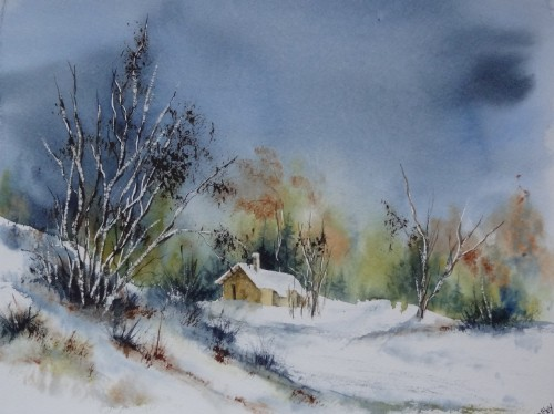 aquarelle,neige,hiver,vosges,paysage,abby,watercolor