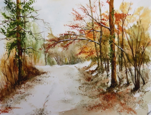 aquarelle,abby,cabane,arbres,forêt,paysage,campagne,sous-bois,chemin,neige,hiver