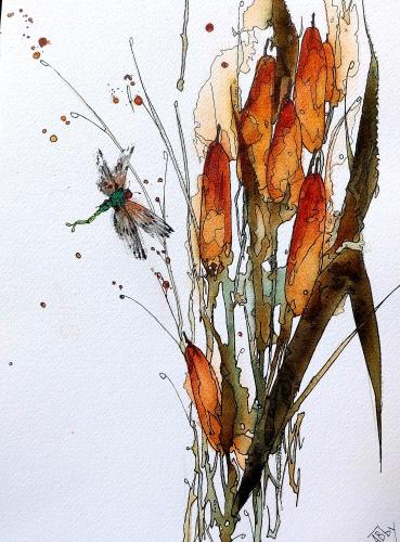 aquarelles,watercolor,fleurs,insectes,oiseaux,sumie,abby,ajoncs