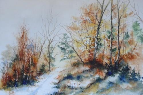 aquarelle,paysage,abby,arbres,sous-bois,forêt,hiver,neige,chemin,ardennes