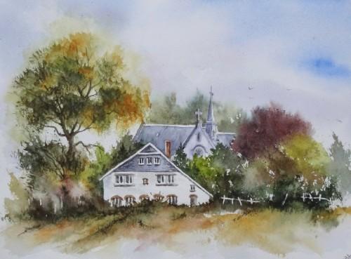 aquarelle,paysage,abby,campagne,arbres,sous-bois,forêt,printemps,automne,village,chemin,ardennes,carmel, hamerenne,champ