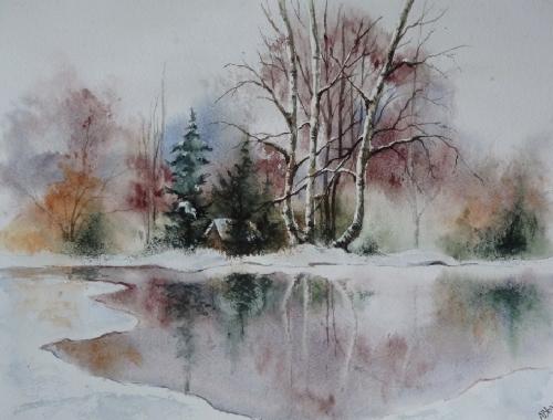 aquarelle,abby,neige,paysage,arbres,chemin,forêt,sous-bois,étang,lac
