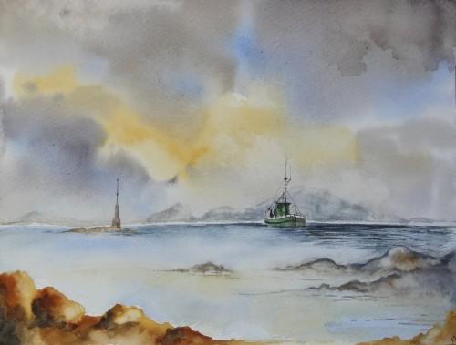 aquarelle,abby,paysage,mer,bateau,marine,bretagne,cote d'armor