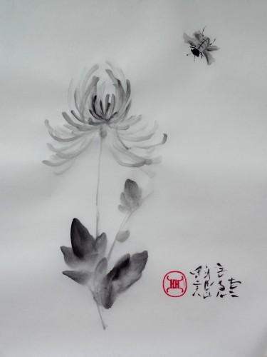 aquarelle,sumi-e,sumie,peinture chinoise, peinture japonaise,encre,abby,chrysanthème