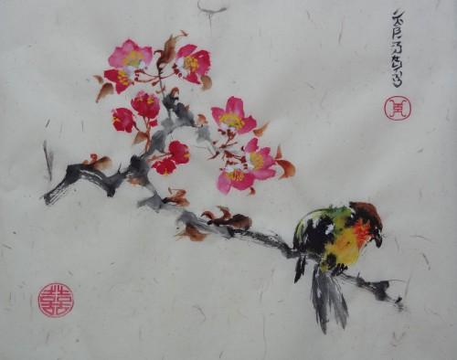 aquarelle,oiseau,fleurs,chine,xieyi,abby,animaux,aquarelle chinoise