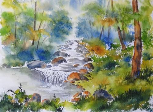 aquarelle,paysage,rivière,torrent,abby,arbres,montagne,dolomites,alpes,cascade