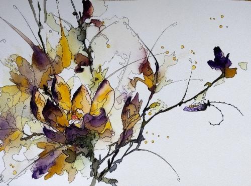 Aquarelle, abby,fleurs,insectes,peinture,watercolor,sumie