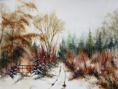 aquarelle,abby,neige,paysage,arbres,chemin,forêt,sous-bois