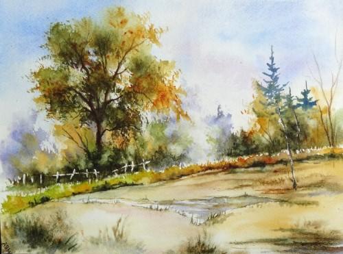 aquarelle,paysage,abby,campagne,arbres,sous-bois,forêt,printemps,automne,mare,chemin,ardennes,chêne,été,printemps,barrière