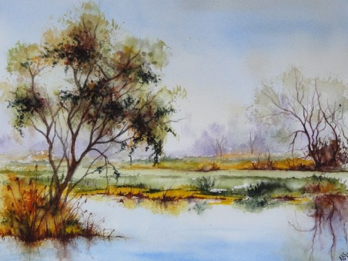 aquarelle,campagne,paysage,arbres,abby,étang,reflets,champ,ardennes
