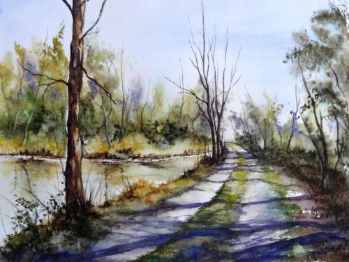 aquarelle,abby,arbres,forêt,paysage,campagne,sous-bois,étangs,reflets