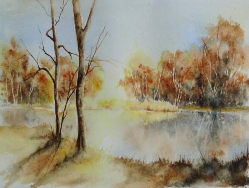 aquarelle,paysage,abby,arbres,sous-bois,forêt,automne,reflet,lac,étang