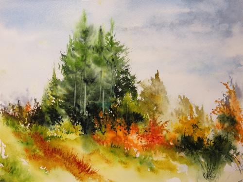 aquarelle,abby,cabane,arbres,forêt,paysage,campagne,sous-bois,sapins,automne