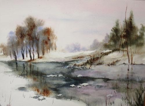 aquarelle,abby,neige,paysage,arbres,chemin,forêt,sous-bois,étang,lac,glace