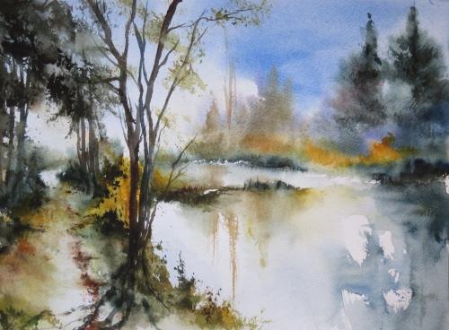 aquarelle,abby,paysage,campagne,étang,lac,reflets,chemin,arbres,fleurs,chien,forêt