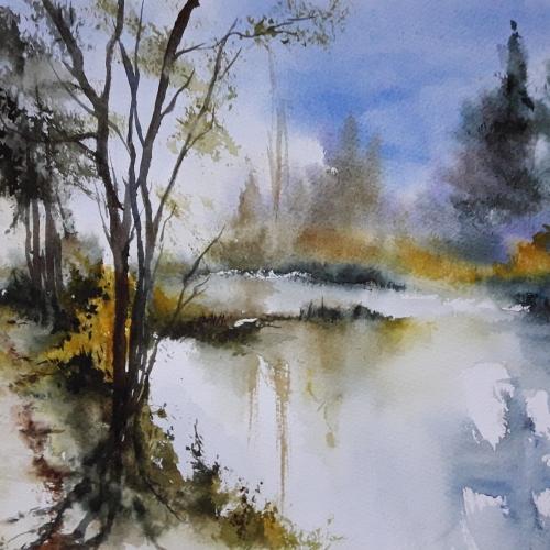 Abby,aquarelle,paysage,arbres,reflets,lac,étang