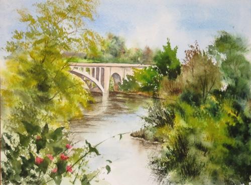 aquarelle,abby,cabane,arbres,forêt,paysage,campagne,sous-bois,rivière,eau,torrent,courant,reflets,rochers,pont
