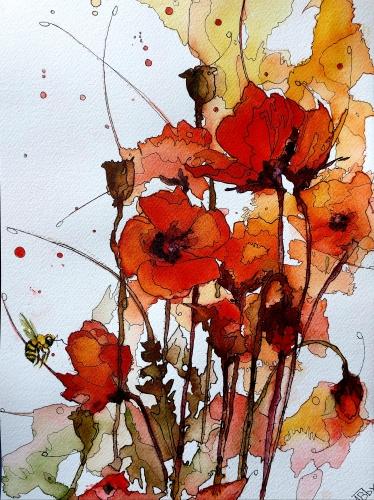 aquarelles,watercolor,fleurs,insectes,oiseaux,sumie,abby,pavots