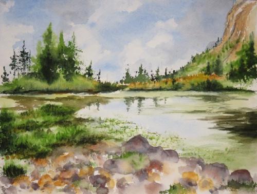 aquarelle,abby,paysage,montagne,lac,reflets,sapins,alpes,dolomites,altitude,pierres,été