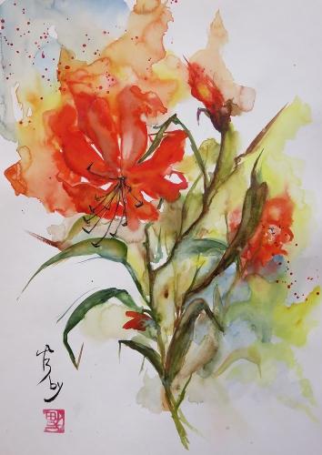 aquarelle,abby,fleurs,coquelicots,rouge,lys