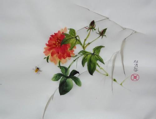 aquarelle,abby,papier de riz,peinture chinoise,peinture japonaise,umi-e,sumie,pivoine,abeille,fleur
