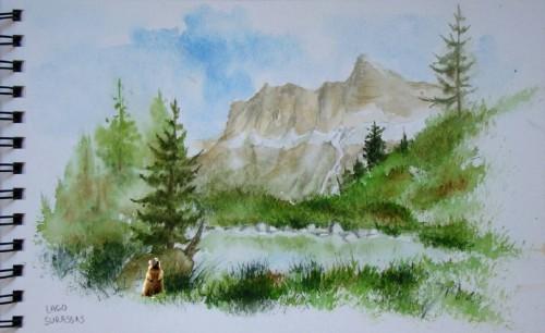 Aquarelle,montagne,lac,dolomites