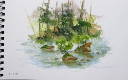 aquarelle,croquis,dolomites,montagne,rivière,abby