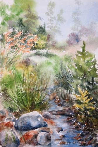 aquarelle,abby,cabane,arbres,forêt,paysage,campagne,sous-bois,barrière,ruisseau,rivière,campagne